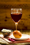 Goat cheese, pear and Rose wine Royalty Free Stock Photos