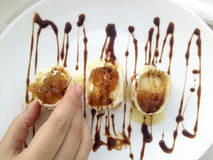 Goat cheese rolls with caramelized onions Stock Images