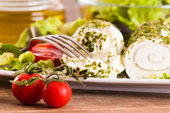 Goat cheese with salad and cherry tomatoes. Stock Images