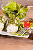 Goat cheese with salad and cherry tomatoes. Royalty Free Stock Photos