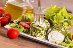 Goat cheese with salad and cherry tomatoes. Royalty Free Stock Images