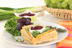 Goat cheese tartlet Stock Photography