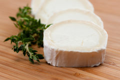 Goat cheese with thyme on a wooden cutting board Stock Photos
