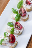 Goat cheese and tomato appetizer Royalty Free Stock Image