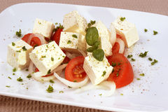 Goat cheese with tomato and basil Stock Images