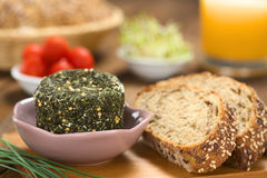 Goat Cheese with Wholegrain Bread Royalty Free Stock Images