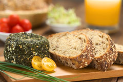 Goat Cheese and Wholegrain Bread Stock Images