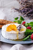 Goat Cheese With Honey And Raspberries Stock Photos