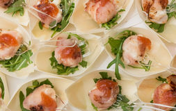 Goat cheese wrapped in bacon Stock Photos