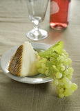 Goat chesse grapes and wine Stock Photo