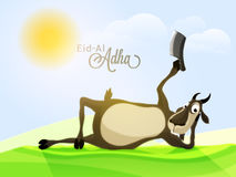 Goat with Chopper for Eid-Al-Adha Celebration. Illustration of a Funny Goat holding a Chopper on Nature background for Muslim Community, Festival of Sacrifice Royalty Free Stock Photography