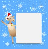 Goat in a christmas cap and clean banner Royalty Free Stock Image