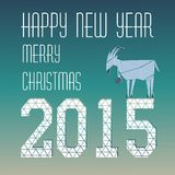 Goat Christmas greeting card with figures. Goat Christmas greeting card design Stock Photo