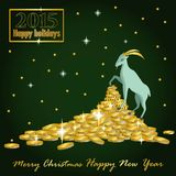 Goat Christmas on the mountain of gold coins and a card with the Royalty Free Stock Photos