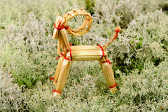 Goat Christmas ornament in straw Royalty Free Stock Photo
