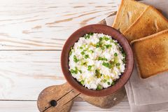 Goat cream cheese with green onions, dip sauce Stock Images