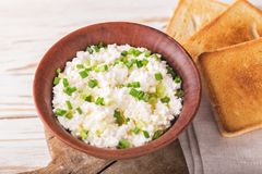 Goat cream cheese with green onions, dip sauce Stock Photo
