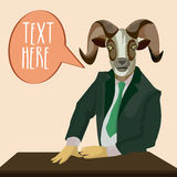 Goat dressed up in suit. Royalty Free Stock Photo