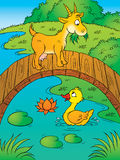 Goat and duck. Children's illustration for yours design, book, postcard, album, cover, scrapbook, etc Stock Image