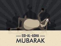 Goat for Eid-Al-Adha Mubarak. Funny Goat on creative Mosque, abstract rays background for Muslim Community, Festival of Sacrifice, Eid-Al-Adha Mubarak Royalty Free Stock Photo