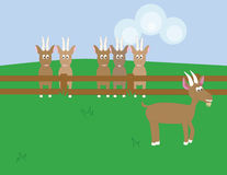 Goat escaping. A goat escaped from its pen could be scapegoat Royalty Free Illustration