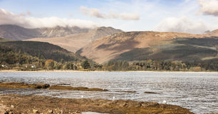 Goat Fell and Coast from Brodick on Arran. Goat Fell and Coast from Brodick on the Isle of Arran in Scotland stock photography
