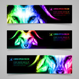 Goat fire banners. Set of banners with goat head in multicolored flame. Symbol of the year 2015 Royalty Free Stock Image