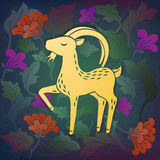 Goat in flowers. Calm goat in flowers. Cartoon vector illustration Stock Images