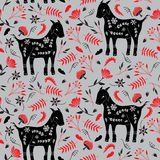 Goat and Flowers Pattern Stock Image