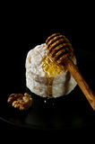 Goat French cheese on black background and honey Stock Photos
