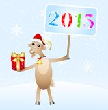 Goat with a gift and banner with numbers 2015. Vector illustration Stock Photography