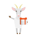 Goat with gift box Royalty Free Stock Images