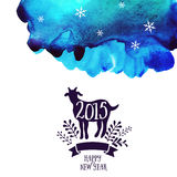 Goat greeting catd. Symbol of the 2015 year, greeting card with goat. Vector watercolor background. Greeting card 2015. Happy New Royalty Free Stock Photos