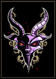 Goat head. With pattern on black background. Print style. Layered  EPS 8 illustration Royalty Free Stock Image