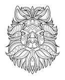 Goat head coloring page vector illustration. Royalty Free Stock Photos