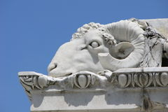 Goat head detail at Grand Duke Leopold II marble monument in Republic square in Livorno,Italy Royalty Free Stock Photos
