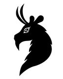 Goat head symbol 2015. Vector illustrations of silhouette of silhouette goat head - symbol 2015 Stock Images