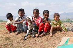 Goat herder kids sitting and holding a baby goat, Pune stock images