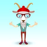 Goat hipster character Stock Image
