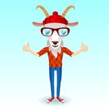 Goat hipster character Royalty Free Stock Images