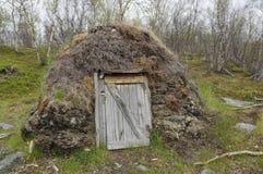 Goat hut gaicagoahti in a Sami Camp royalty free stock photography