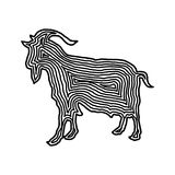 A goat illustration icon in black offset line. Fingerprint style. For logo or background design Royalty Free Stock Photography