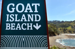 Goat Island beach sign Royalty Free Stock Photos