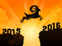 Goat Jumping to New Year 2016. A goat jumping from year 2015 to New Year 2016. Conceptual image indicates successfully passing of year 2015 to year 2016 Royalty Free Stock Photos