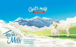 Goat and kid and splash. Goat and kid in a mountainous landscape and splash milk form like design elements stock illustration