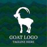 Goat logo on abstract green background. Vector illustration Vector Illustration