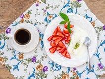 Goat milk ice-cream with pistachio and strawberry Stock Photos