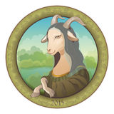 Goat - Mona Lisa. Symbol New Year Stock Photo