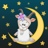 Goat on the moon Royalty Free Stock Photo