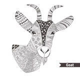 Goat. oloring book. For adult, antistress coloring pages. Hand drawn vector  illustration on white background. Henna mehendi, tattoo sketch Royalty Free Stock Photos